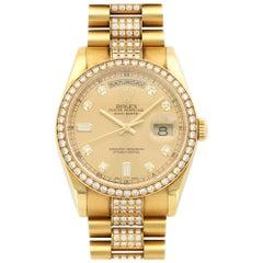Rolex Yellow Gold Pave Diamond Day-Date Automatic Wristwatch Ref 118348