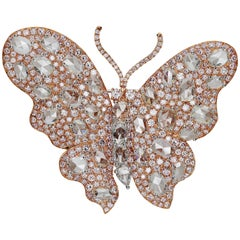 Butterfly White Diamond and Pink Diamond Rose Gold Brooch