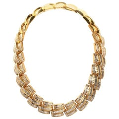 1980s Charles Ckrypell Baguette Diamond Yellow Gold Chocker Necklace