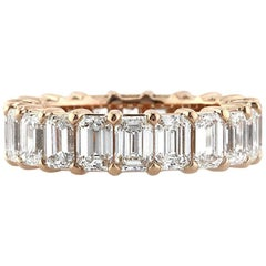 Mark Broumand 6.30 Carat Emerald Cut Diamond Eternity Band in 18 Karat Rose Gold