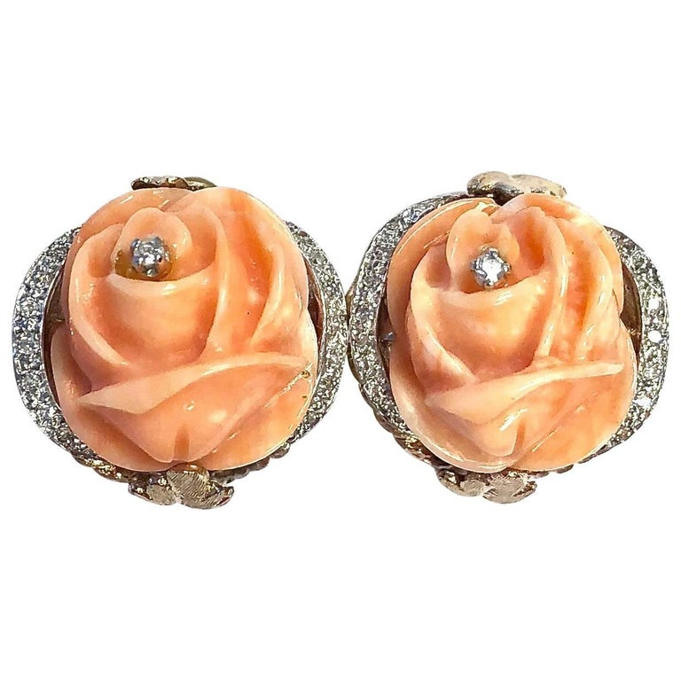 Vintage Carved Coral and Diamond Gold Clip-On Earrings
