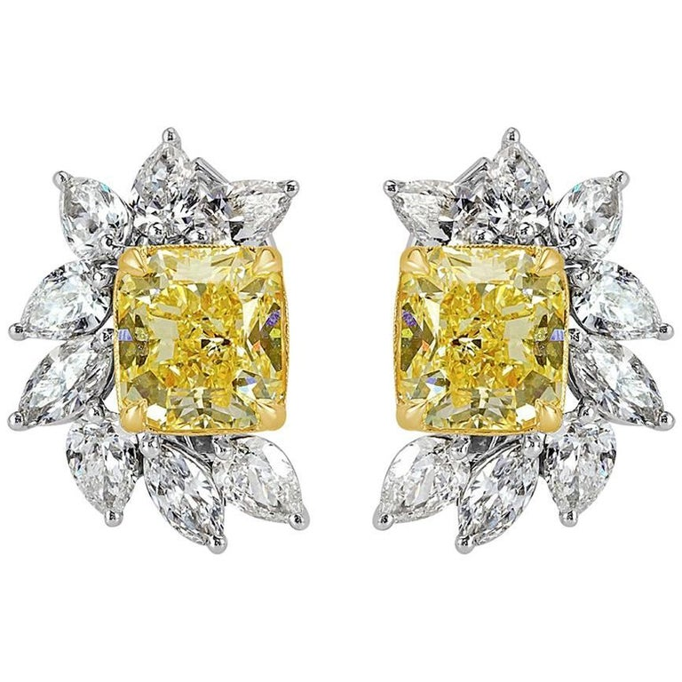Mark Broumand 8.82 Carat Fancy Yellow Radiant and Marquise Cut Diamond Earrings