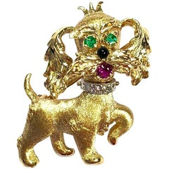 Vintage Dan Frere Diamond Emerald Ruby Dog Yellow Gold  Pin Brooch