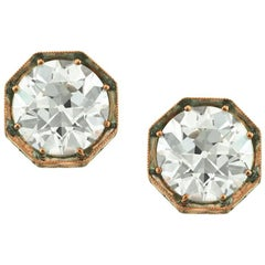 Mark Broumand 4.09ct Old European Cut Diamond Stud Earrings in 18k Rose Gold