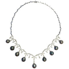 Faceted Tahitian Pearl and Diamond White Gold Necklace