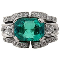 5.50 Carat Emerald Diamond Platinum Cocktail Ring