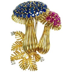 Vintage Yellow Gold Sapphire Ruby and Diamond Mushroom Brooch