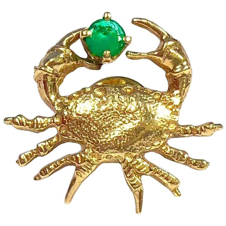 CINI Vintage Emerald Gold Crab Tie Tack Pin