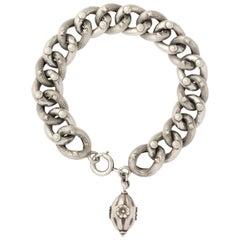 Sterling Silver Textured Link Victorian Bracelet