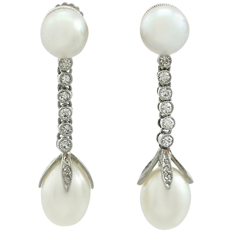 1910s Natural Pearl and  Diamond Platinum Drop Earrings