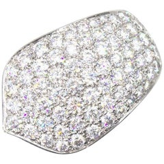 Cartier Pave Diamond 18 Karat White Gold Band Ring