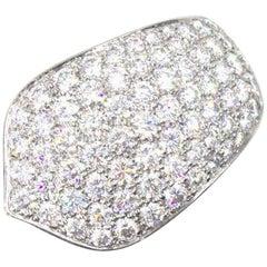 Cartier Pave Diamond 18 Karat White Gold Band Ring