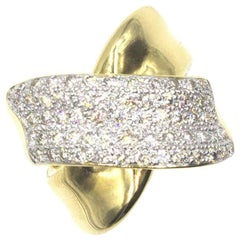 Modern Diamond Crossover 18 Karat Yellow Gold Wide Band Ring