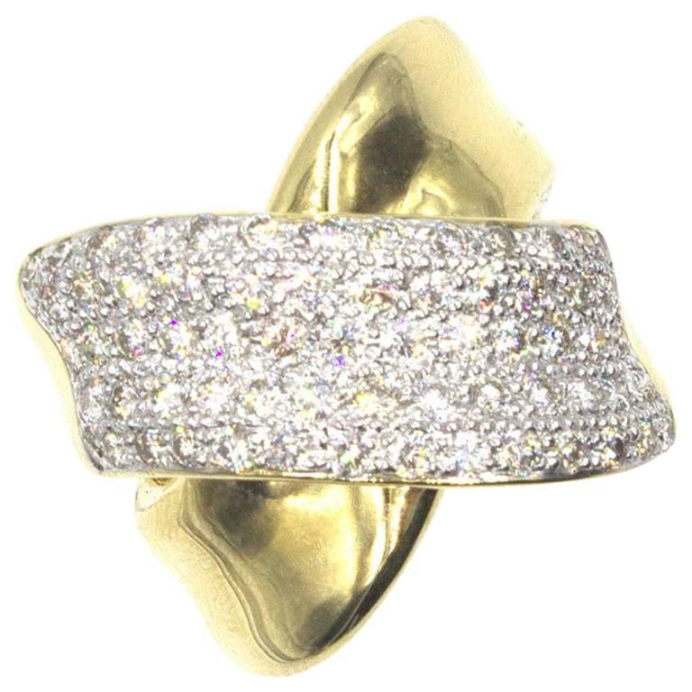 Modern Diamond Crossover 18 Karat Yellow Gold Wide Band Ring
