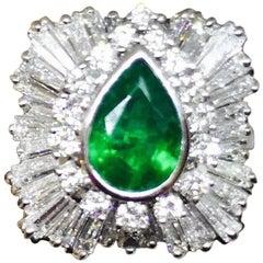 1950s 4.13 Carat Platinum Emerald VS Diamond Ballerina Ring Convertible Pendant