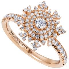 Nadine Aysoy 18 Karat Rose Gold and White Diamond Snowflake Engagement Ring