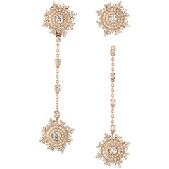 Nadine Aysoy Petite Tsarina 18K Rose Gold and Diamond Long Earrings