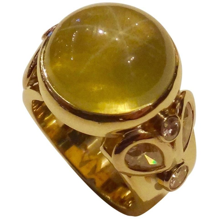 Michael Kneebone Six Point Star Citrine White Diamond Cocktail Ring