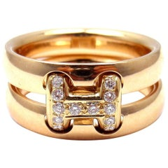 Hermes Diamond H Double Band Flex Yellow Gold Band Ring