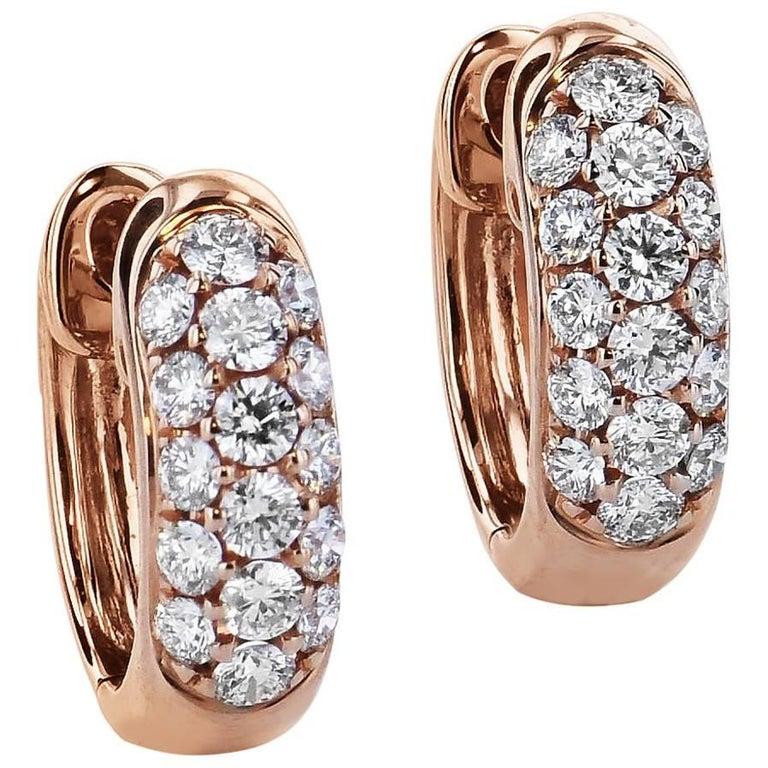 0.44 Carat Diamond Rose Gold Huggie Hoop Earrings