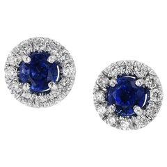 H & H 0.67 Carat Blue Sapphire Stud Earrings