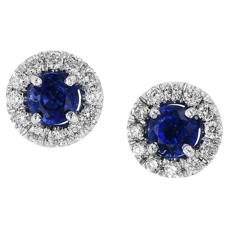 H & H 0.67 Carat Blue Sapphire Stud Earrings For Sale