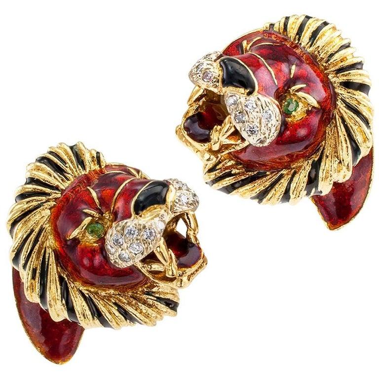 1970s Lion Head Ear Clips Enamel Emerald Diamond Gold