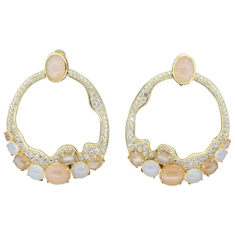 Modern Moonstone Diamond Gold Earrings