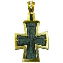 Antique Bronze Byzantine Cross Pendant