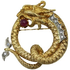 Lalaounis Diamond, Ruby and Gold Dragon Brooch