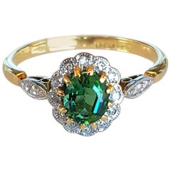 Art Deco Green Tourmaline and Diamond Ladies Cluster Dress Ring
