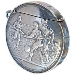 Sterling Silver Edwardian Novelty Soccer Football Vesta Case Match Holder, 1907