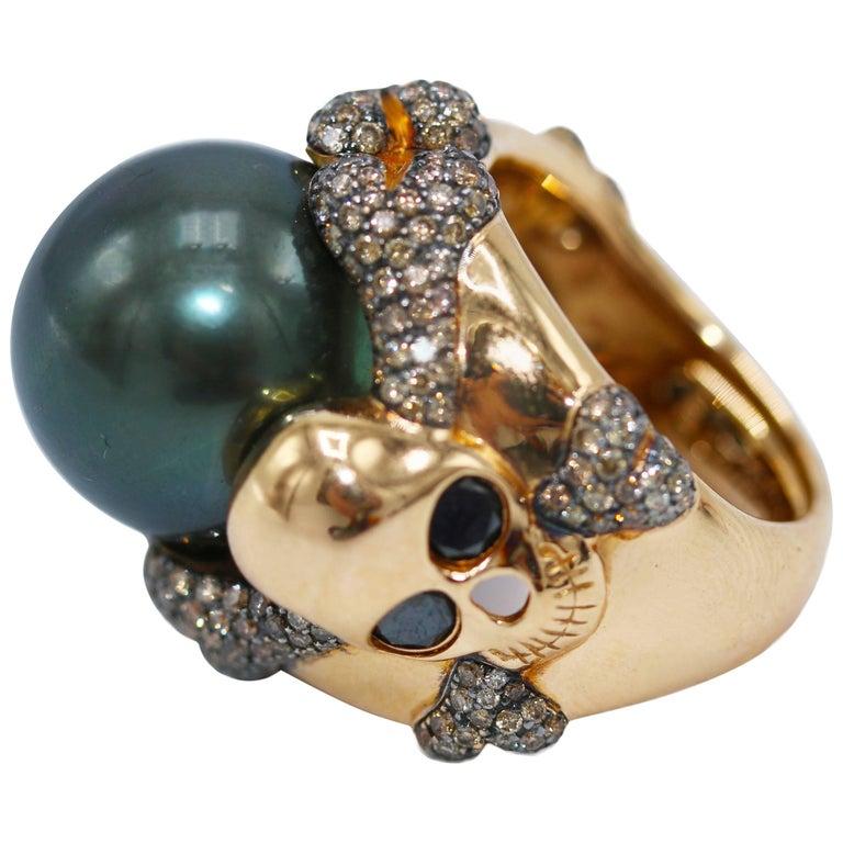De Grisogono South Sea Pearl and Colored Diamond Skull Ring