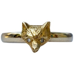 Gold Edwardian Fox Head Ring with Rose Cut Diamond Eyes