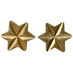 1970s Vintage Stars Gold Faceted Celestial Rock Star Stud Earrings