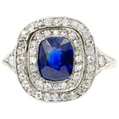 Edwardian Gold Natural 1.75 Carat Blue Australian Sapphire Diamond Ring