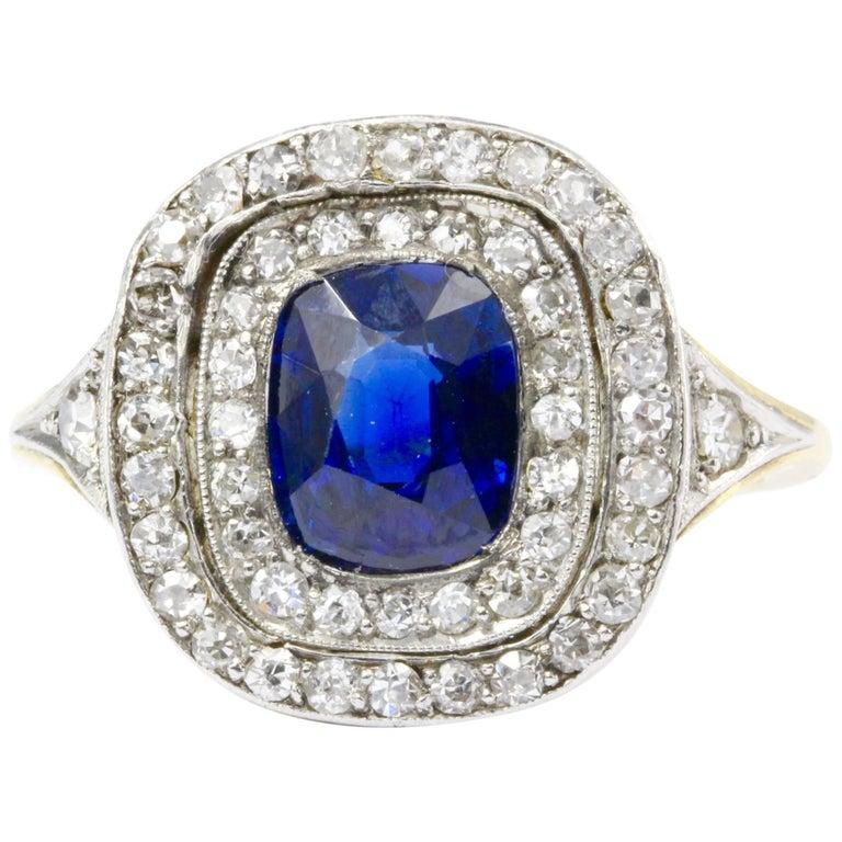 Edwardian Gold Natural 1.75 Carat Blue Australian Sapphire Diamond Ring