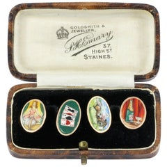 Victorian Yellow Gold Enamel Four Vices Cufflinks