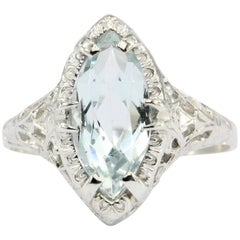 Art Deco 14K White Gold Aquamarine Ring