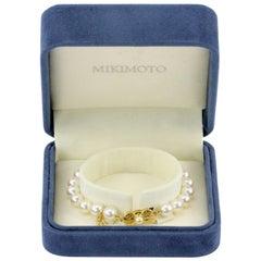 Mikimoto 18 Karat Yellow Gold A+ Grade Pearl Bracelet