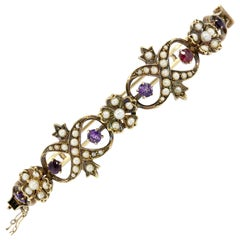 Victorian Yellow Gold Amethyst Ruby Seed Pearl Bangle Bracelet
