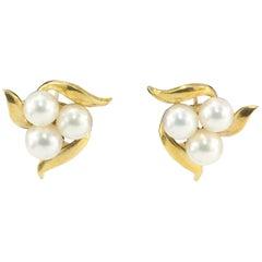 Mikimoto Yellow Gold Pink Pearl Earrings
