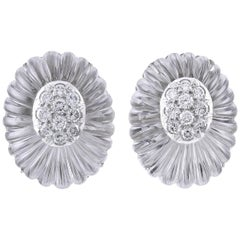 David Webb Diamond Rock Crystal Ear Clips
