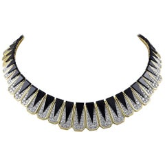 Onyx, Gold and Diamond Choker