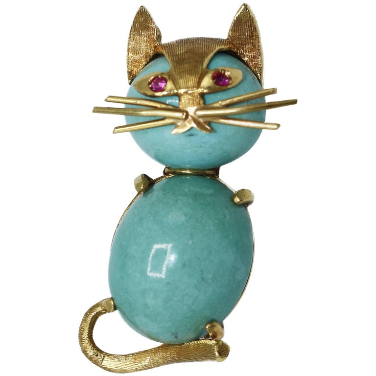 1960s Turquoise, Ruby and Gold Cat Brooch