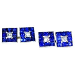 French Art Deco Burma Sapphire and Diamond Cufflinks