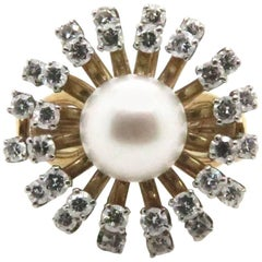 1950s Diamond and Cultured Akoya Pearl Gold Ring