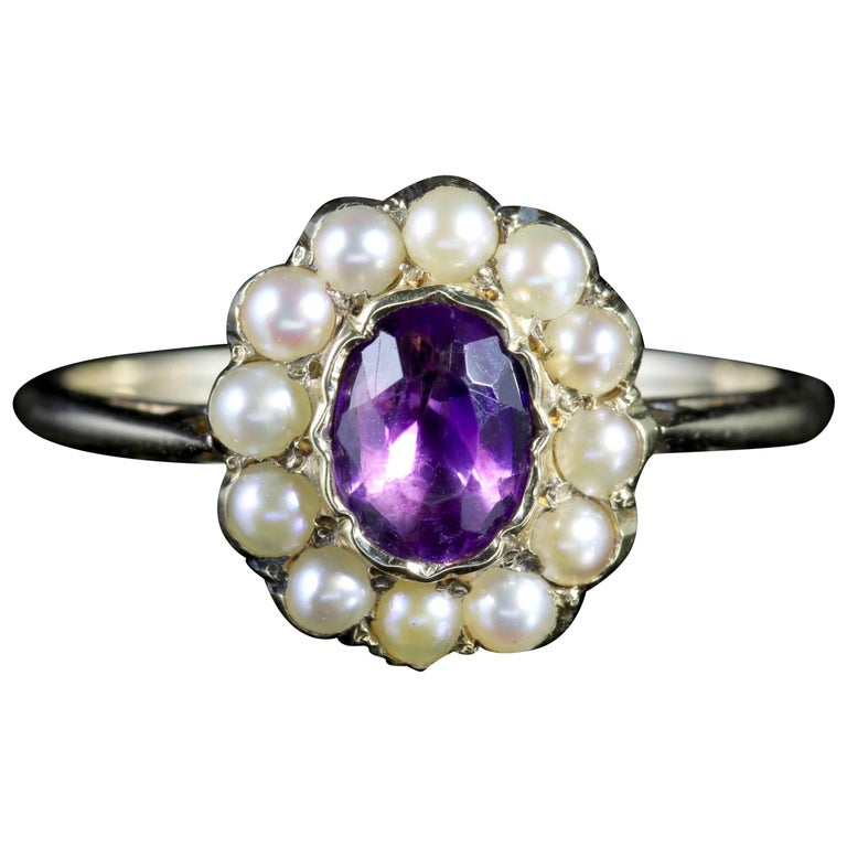 Antique Victorian Amethyst Pearl Cluster Ring 18ct Gold, circa 1900