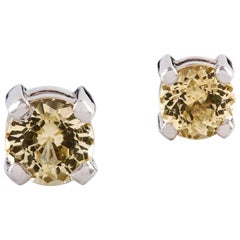 Kian Design 18 Carat White Gold Round Yellow Sapphire Earring Studs