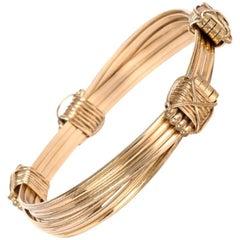 Solid 14 Karat Gold Adjustable Elephant Knot Bangle Bracelet
